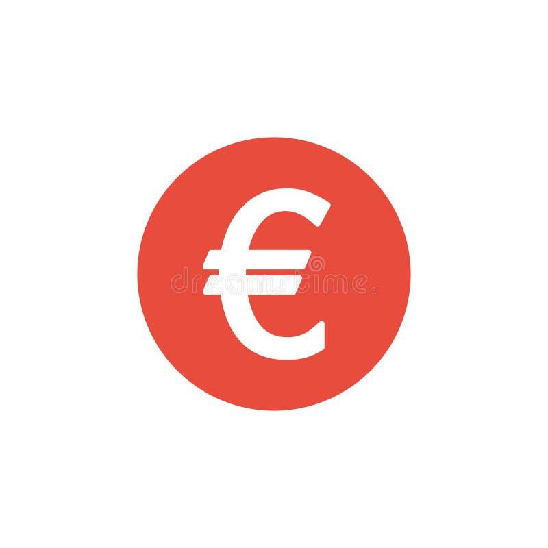 Dinheiro da finança do Euro Plano vermelho do símbolo isolado no fundo branco ilustração do vetor