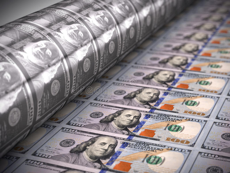 Dinheiro da impressão - 100 notas de dólar ilustração royalty free