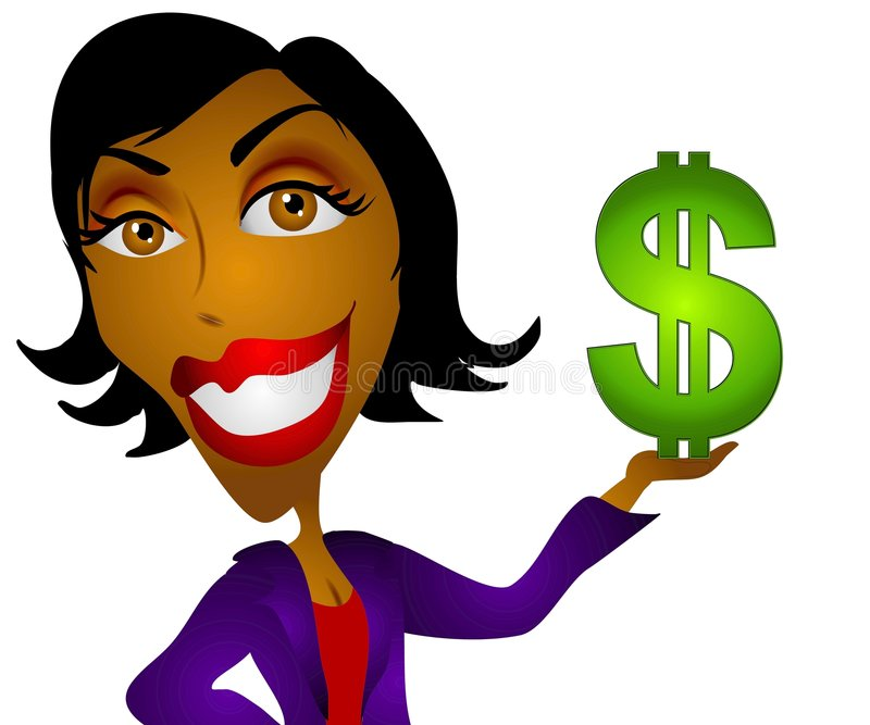 Dinheiro da mulher do americano africano ilustração royalty free