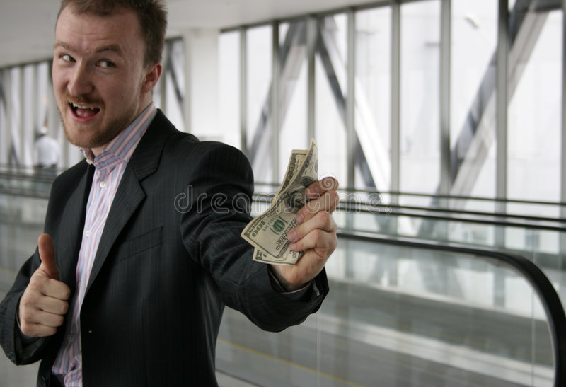 Dinheiro da oferta do homem imagem de stock