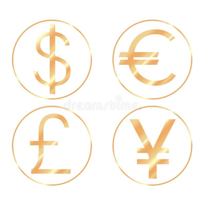 dinheiro da porcelana dos EUA Europa Inglaterra ilustração stock