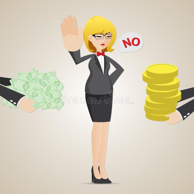Dinheiro da recusa da mulher de negócios dos desenhos animados de uma outra pessoa ilustração do vetor