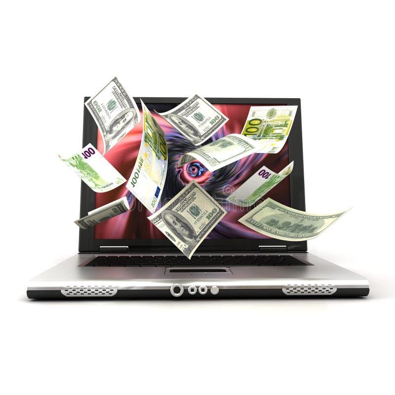 Dinheiro da tela do portátil ilustração do vetor