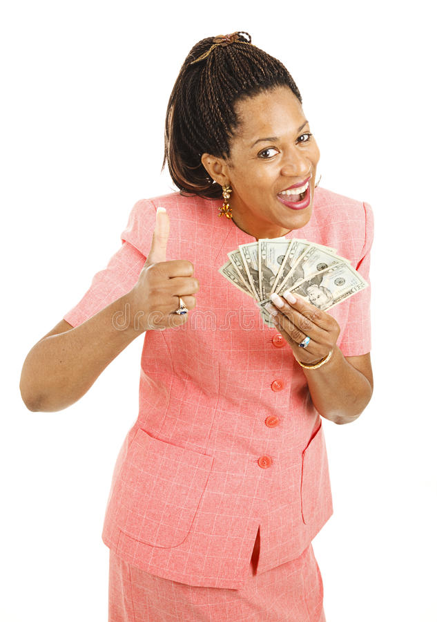 Dinheiro da terra arrendada da mulher do African-American fotografia de stock