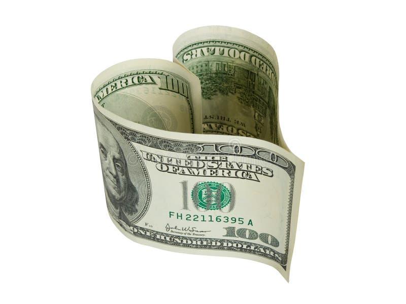Dinheiro dado forma coração imagens de stock