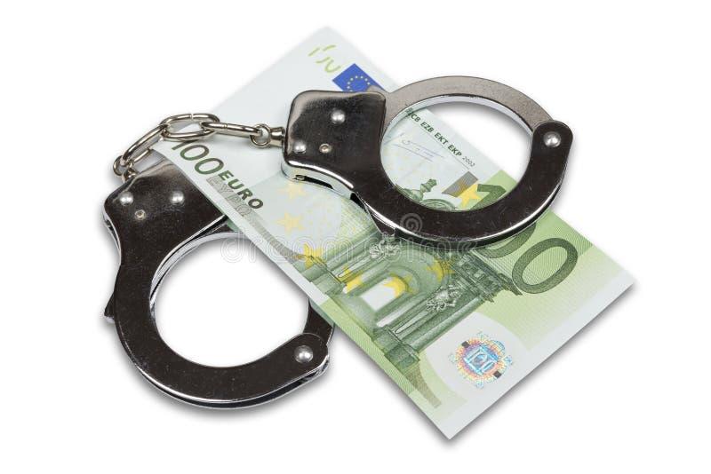 Dinheiro das algemas e do Euro foto de stock