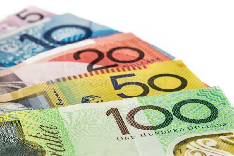 $5, $10, $20, $50, dinheiro de $100 Austrália imagem de stock royalty free