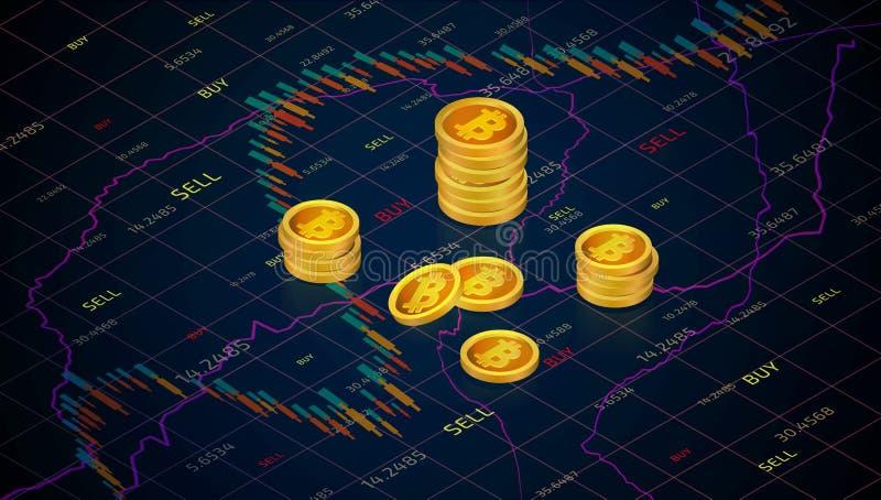 Dinheiro de Bitcoin no fundo do gráfico do mercado de valores de ação ilustração royalty free