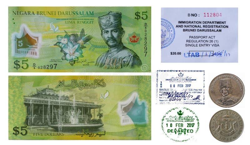 Dinheiro de Brunei Darussalam e selo de visto fotos de stock royalty free