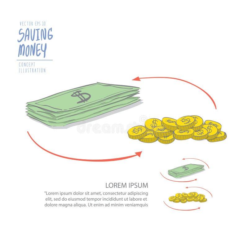 Dinheiro de circulação das moedas e do dólar Vetor liso da pintura do desenho ilustração royalty free