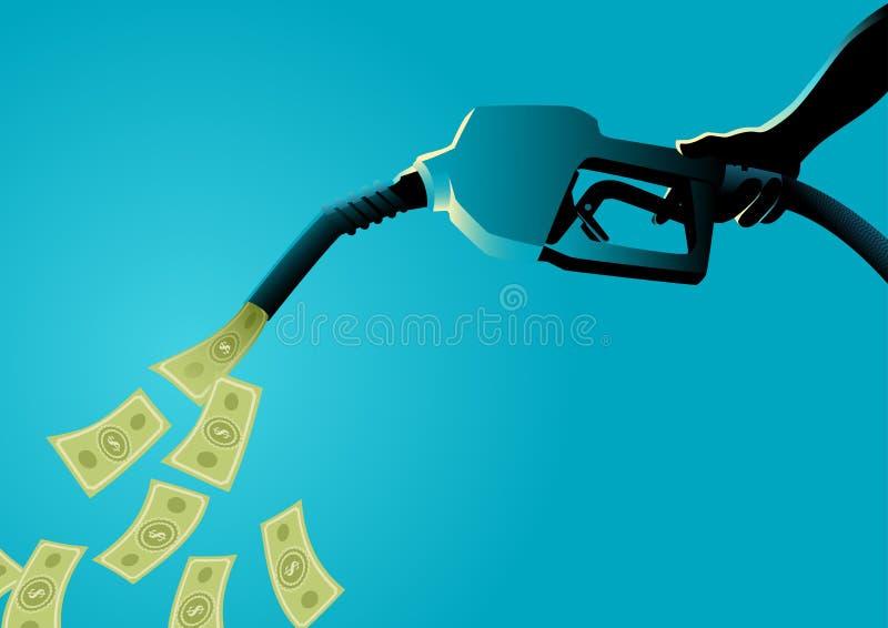Dinheiro de derramamento da bomba de combustível ilustração royalty free