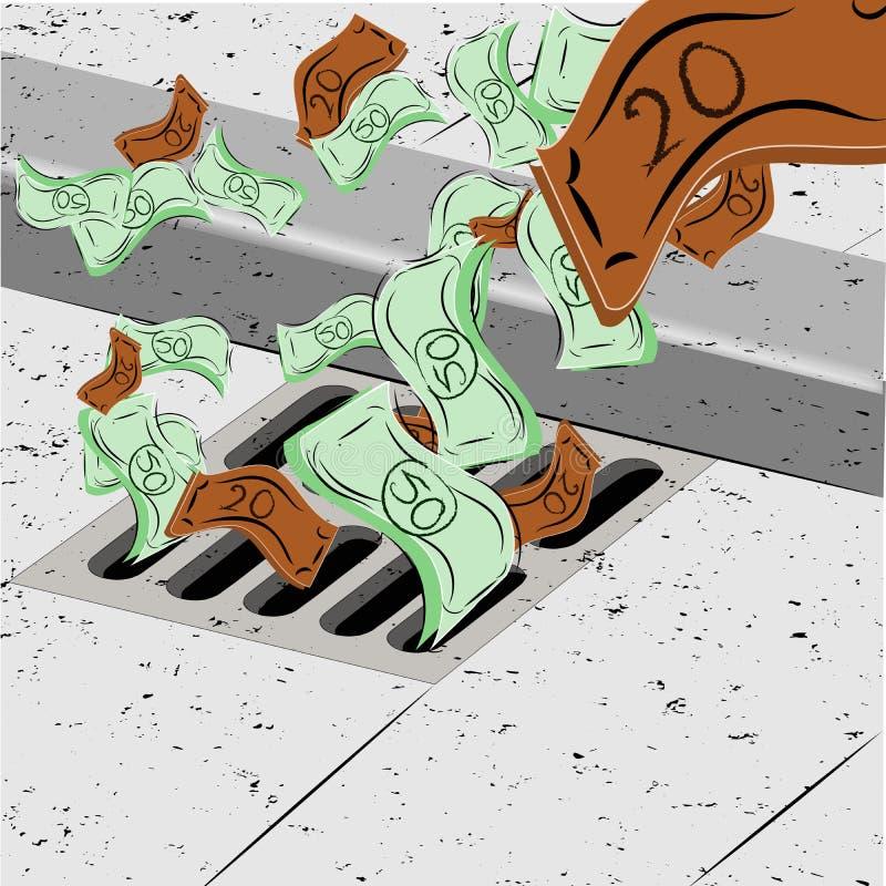 Dinheiro de jogo abaixo do dreno ilustração stock