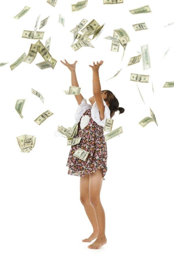 Dinheiro de jogo da menina bonita imagens de stock royalty free