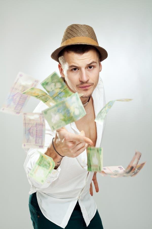 Dinheiro de jogo no ar fotos de stock