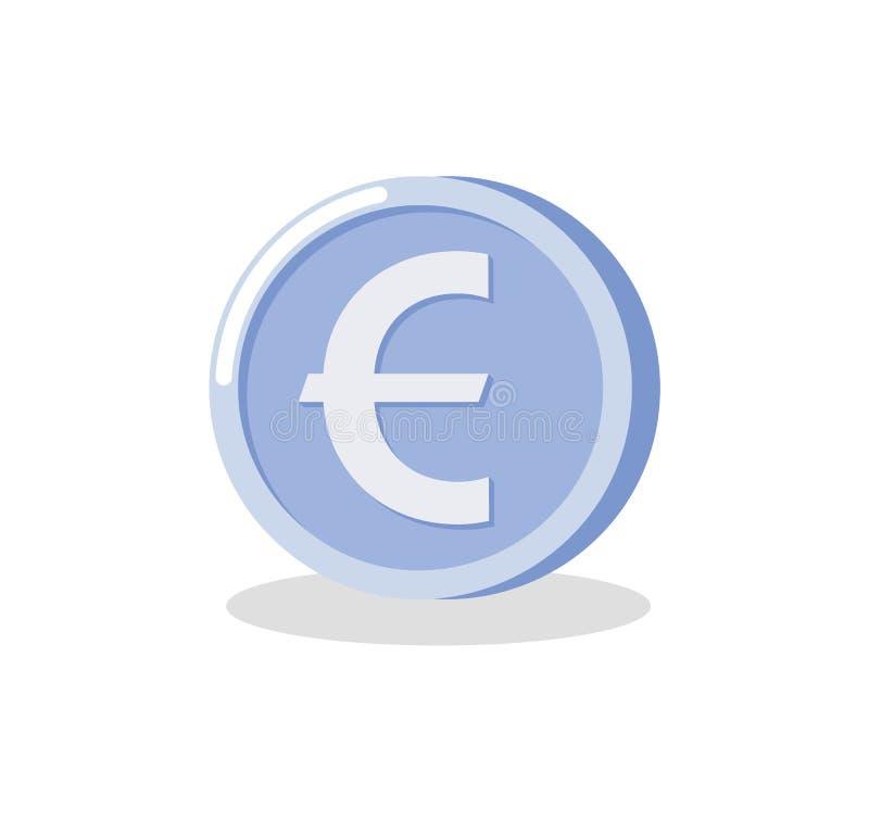 Dinheiro de prata redondo, moeda do Euro, depositando o vetor ilustração royalty free