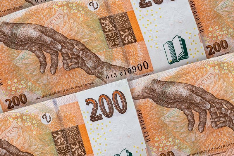 dinheiro de Rep?blica Checa Coroa checa fundo banknoted 200 CZK fotos de stock
