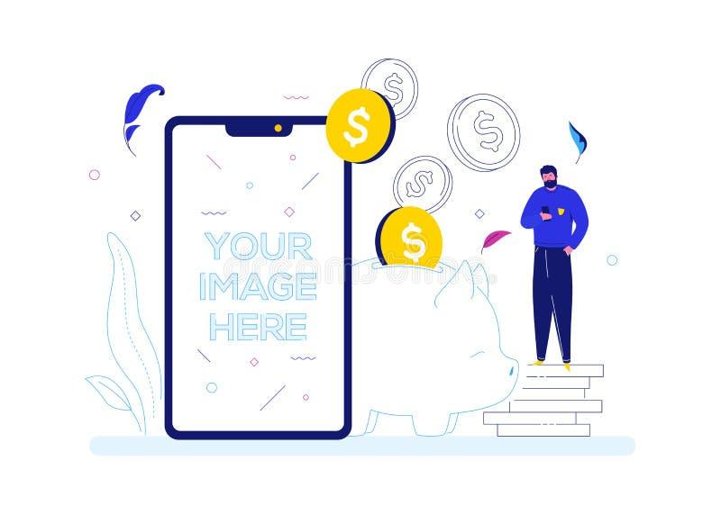 Dinheiro de salvamento - ilustração lisa colorida do estilo do projeto ilustração stock