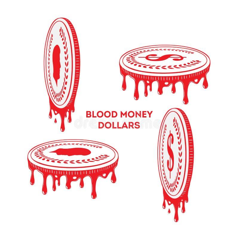 Dinheiro de sangue Moedas douradas do dólar ilustração do vetor