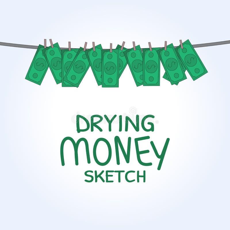 Dinheiro de secagem do vetor ilustração royalty free