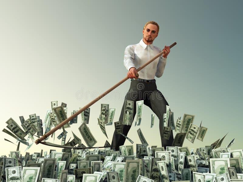 Dinheiro de sega do scythe do homem de negócios foto de stock royalty free