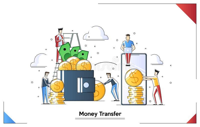 Dinheiro de transfer?ncia, enviando o dinheiro da carteira ao smartphone Caráteres pequenos dos povos que fazem várias tarefas, v ilustração royalty free