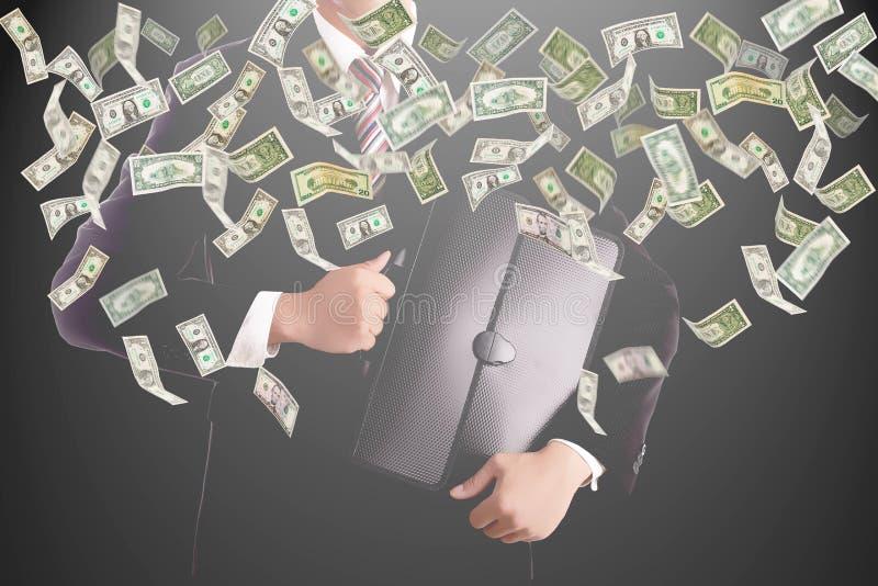 Dinheiro de travamento do homem de negócios ilustração stock