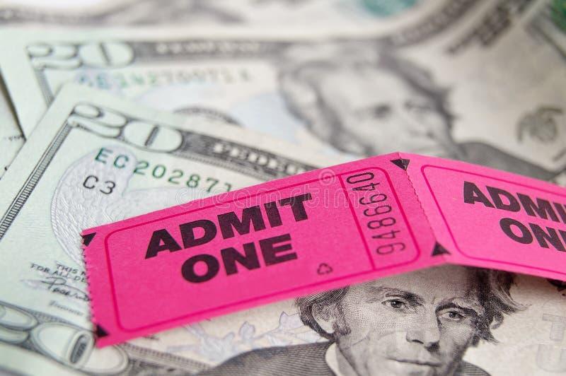 Dinheiro do bilhete fotografia de stock