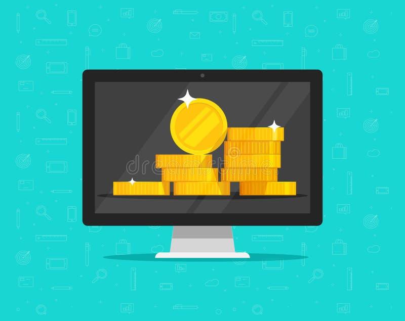 Dinheiro do computador no vetor da tela, desenhos animados lisos do PC com a pilha dourada grande das moedas, ideia de finanças e ilustração royalty free