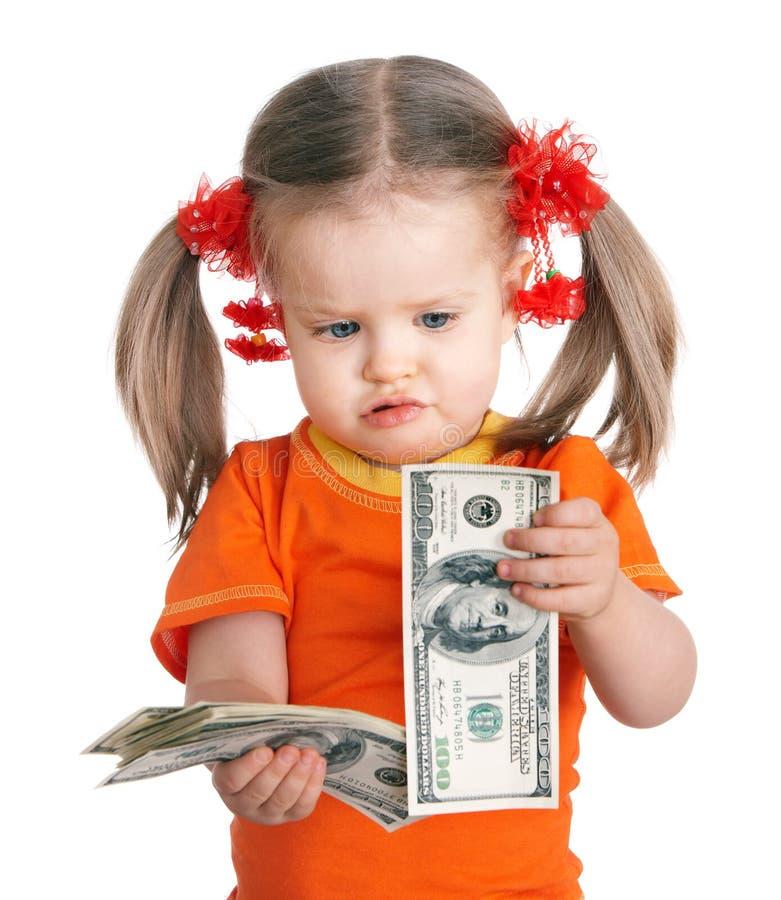 Dinheiro do dólar da terra arrendada da criança. imagens de stock royalty free