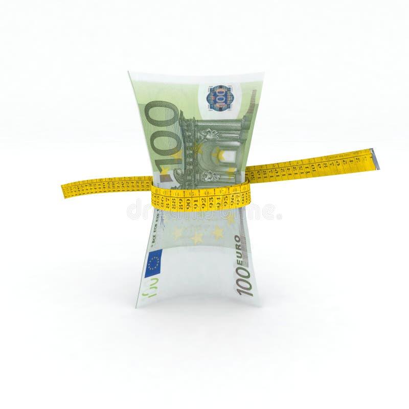 dinheiro do euro 100 na fita de medição ilustração do vetor