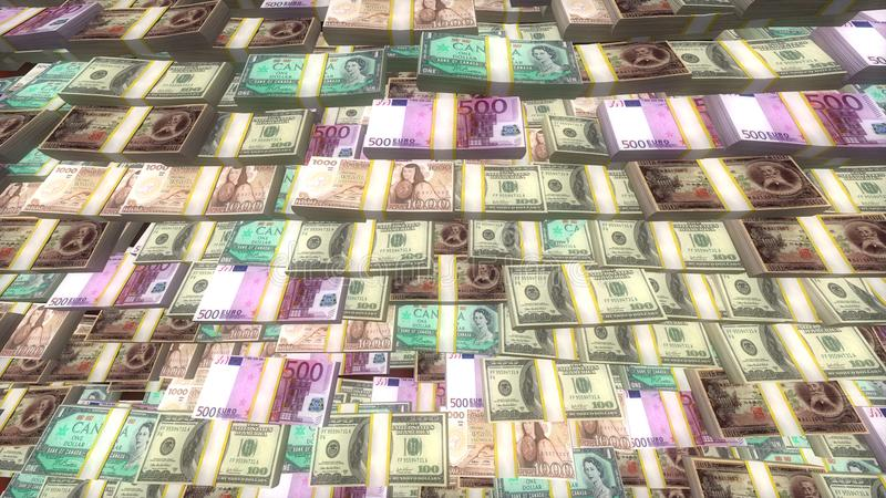 Dinheiro do Euro, do dólar e dos ienes, dinheiro que encontra-se nos pacotes, crise financeira global imagem de stock