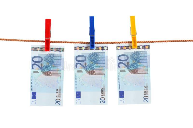 Dinheiro do Euro da corda imagem de stock