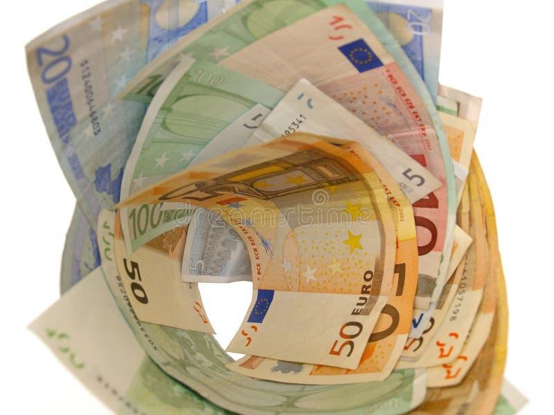 Dinheiro do euro do Vortex fotografia de stock