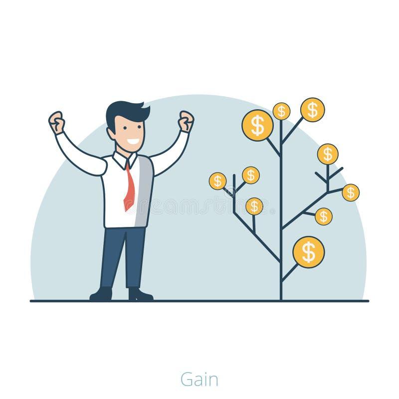 Dinheiro do gerente liso linear do ganho e do lucro do negócio ilustração stock
