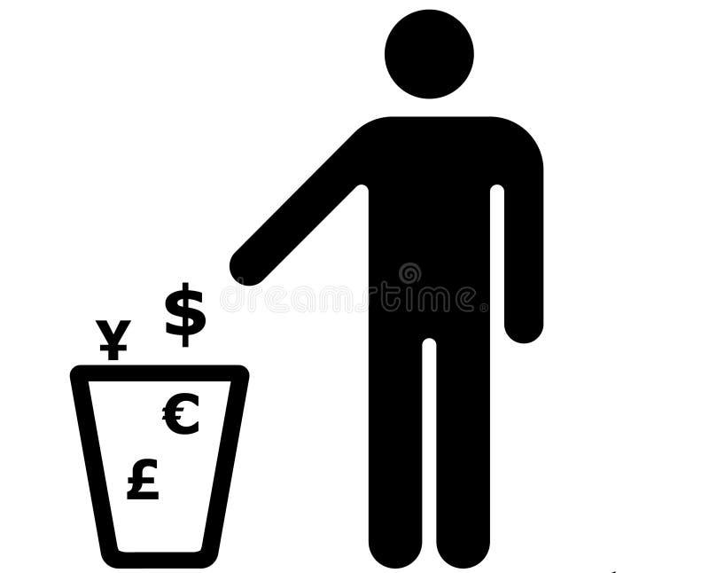 Dinheiro do lixo ilustração do vetor