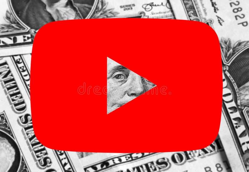 Dinheiro do logotipo do ícone de Youtube fotografia de stock royalty free