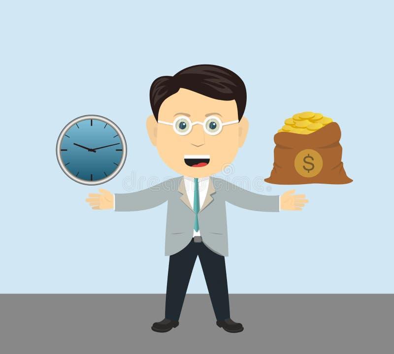 Dinheiro do relógio de ponto do homem de negócios ilustração stock