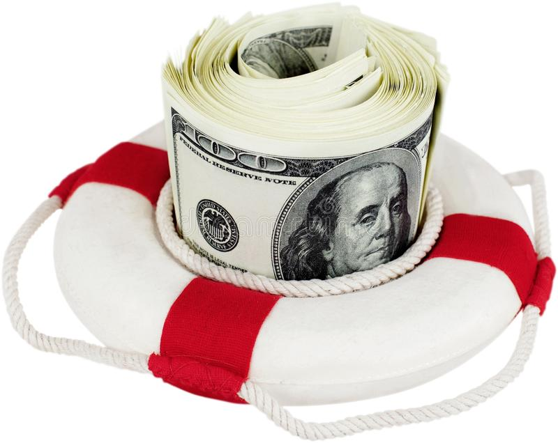 Dinheiro do surroung do anel de vida - conceito do momey da economia imagens de stock
