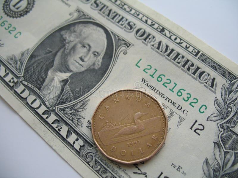 Dinheiro dos E.U. e do Canadá foto de stock