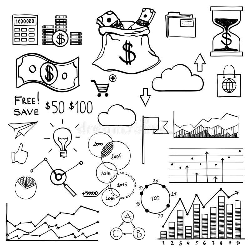 Dinheiro dos elementos da garatuja da tração da mão e ícone da moeda, ilustração stock