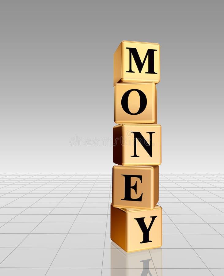 Dinheiro dourado com reflexão ilustração stock