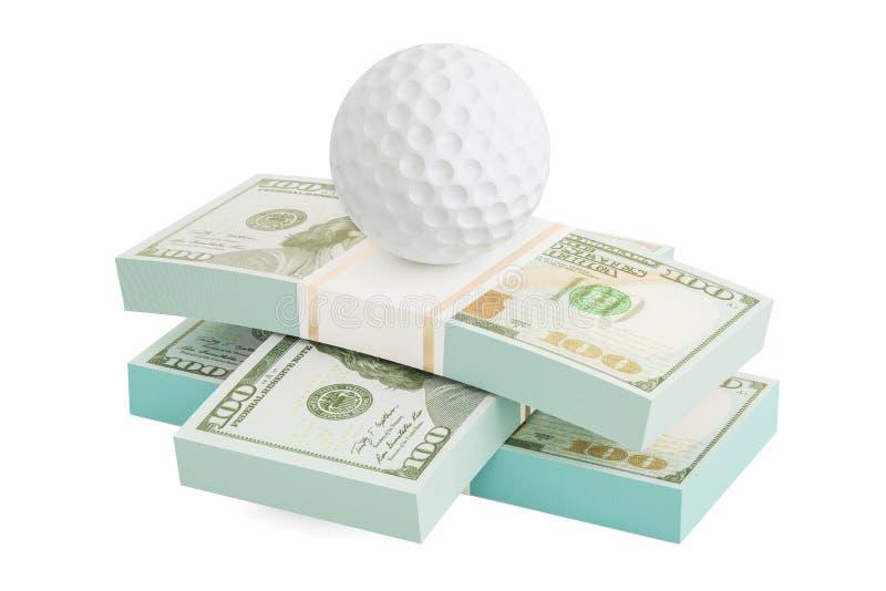Dinheiro e bola de golfe Apostas em linha do esporte rendição 3d ilustração stock