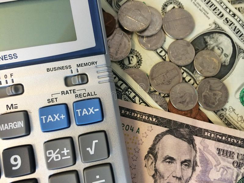 Dinheiro e calculadora III foto de stock royalty free
