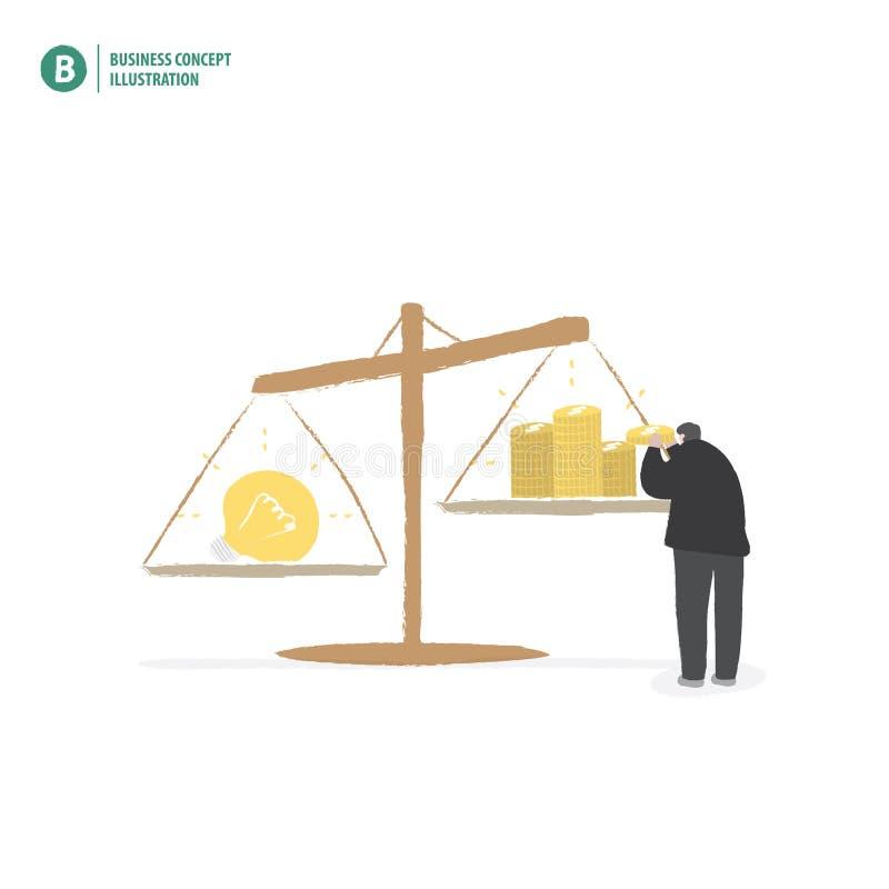 Dinheiro e ideia do equilíbrio do homem de negócios no illustrat branco do fundo ilustração do vetor