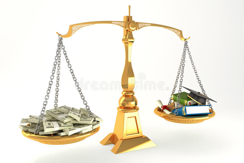 Dinheiro e instrução na escala ilustração do vetor
