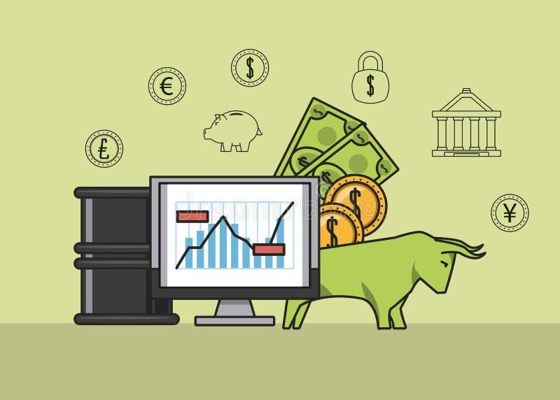 Dinheiro e investimentos do negócio ilustração do vetor