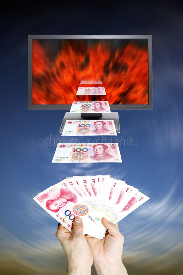 Dinheiro e moniter ilustração stock
