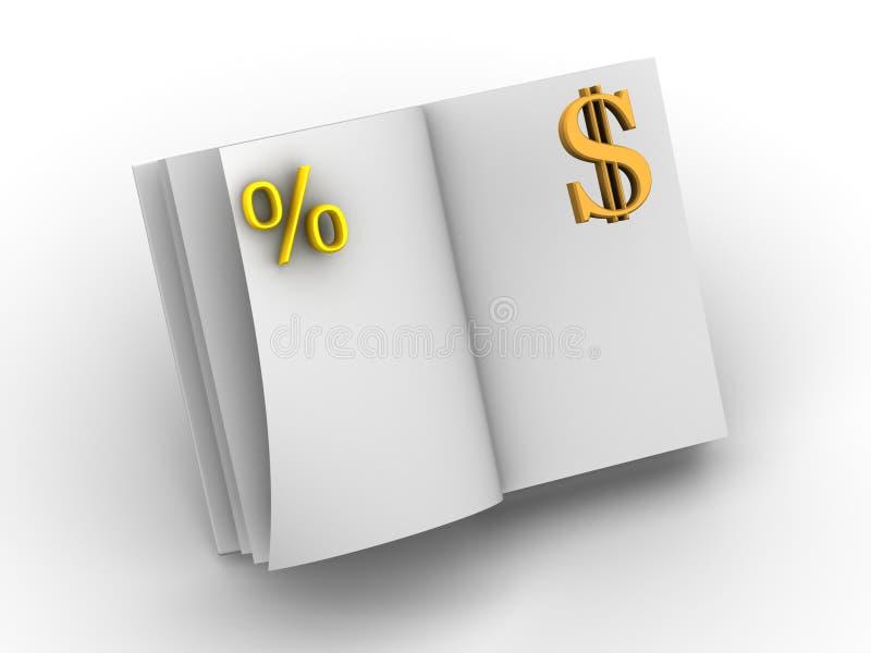 Dinheiro e o livro. ilustração do vetor