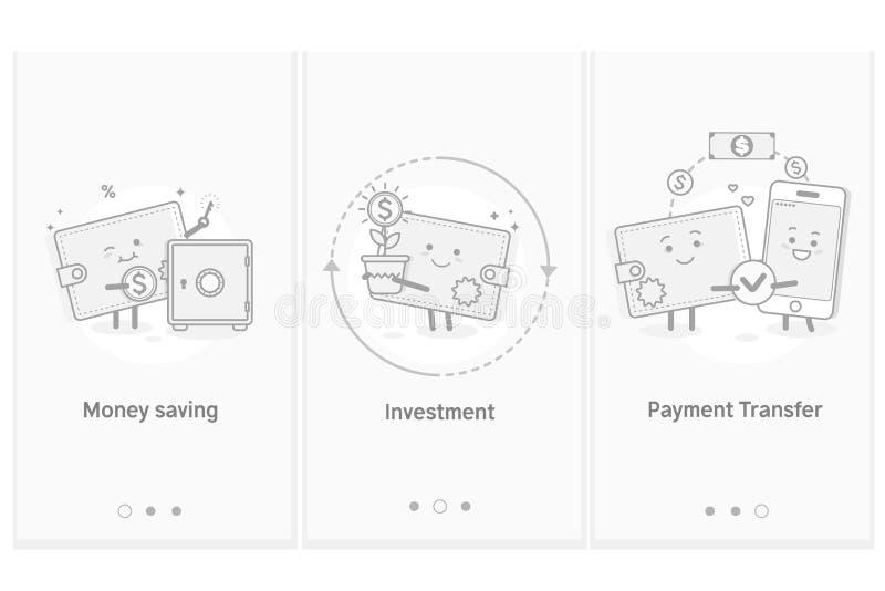 Dinheiro e transferência móvel Investimentos financeiros Dinheiro da economia Molde moderno da tela do GUI de UX UI da relação pa ilustração stock