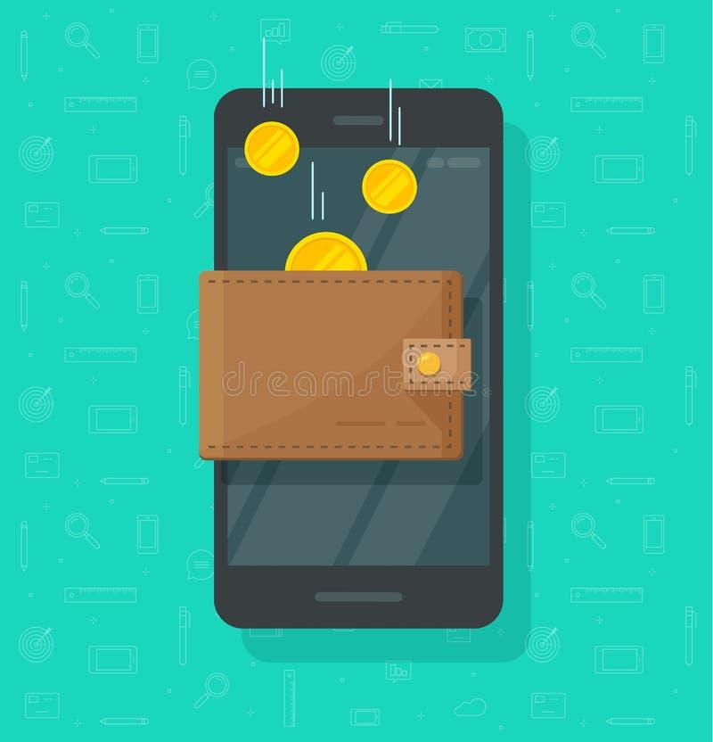 Dinheiro em linha da renda no vetor eletrônico da carteira do telefone celular, voo dourado das moedas dos desenhos animados liso ilustração royalty free